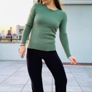 J.Crew Camo green 100% Cashmere slim shirt Sweater